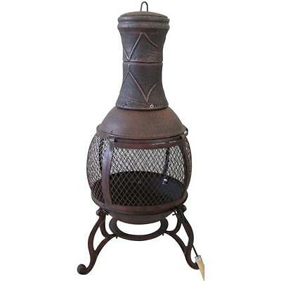 Garden Chimnea Bronze Cast Iron Patio Heater Fire Pit  Charcoal Log Wood Burner