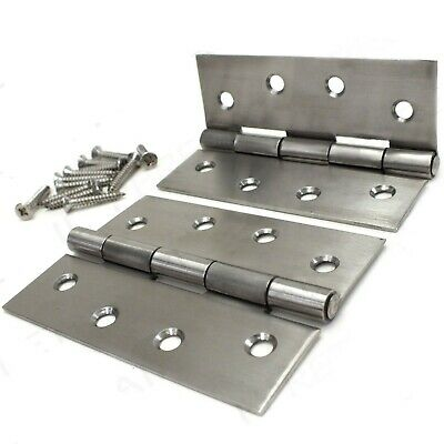 "PAIR OF QUALITY STAINLESS STEEL BUTT HINGES & SCREWS 100mm/4"" Long External Door"