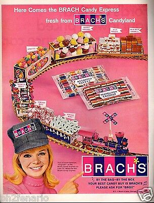 1966 Brach's Candy Express Train Ad Laurel Goodwin Caramels Bon Bons Mints