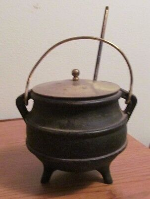 Vintage Cast Iron 3 Footed Fire Starter Smudge Pot with Pumice Wand