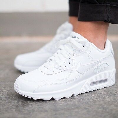 Nike Air Max 90 LTR GS White Leather Youth / Womens Shoes 724821-100 NEW