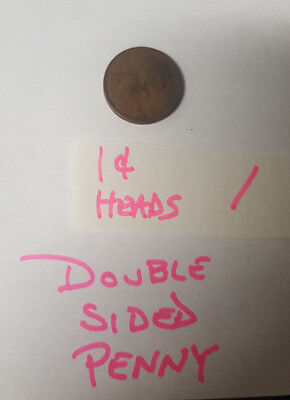 "1950's VINTAGE 1c ""HEADS or HEADS"" DOUBLE SIDED  PENNY NOVELTY PRANK! GAG!"