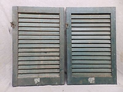 Two Antique Window Wood Louvered Shutter Shabby Old Chic Vtg 27x18 304-17R