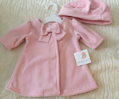 $30 NWT Baby Girls 3M 6M Spring Coat & Hat Set Bow Pink Jacket Outerwear Shower