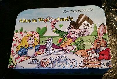 Alice In Wonderland Boxed Tea Party Set  China Cardew Plates Cups Spoons