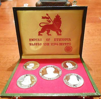 1972 Empire Of Ethiopia 5 Piece Silver Proof Coin Set