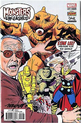 MONSTERS UNLEASHED #1 STAN LEE CAMEO Signed Mike Mayhew Variant Cover and COA