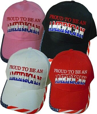 """Proud To Be An American"" Stars & Stripes Bill Baseball Cap/Hat"
