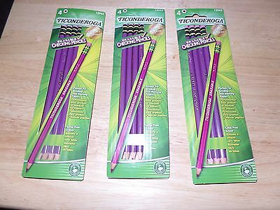 12 PURPLE Dixon Ticonderoga Erasable Checking Pencils, Eraser, Pre-Sharpened