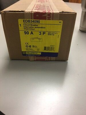 NEW IN BOX EDB34090 Square D Circuit Breaker 3 Pole 90 Amp 480 Volt