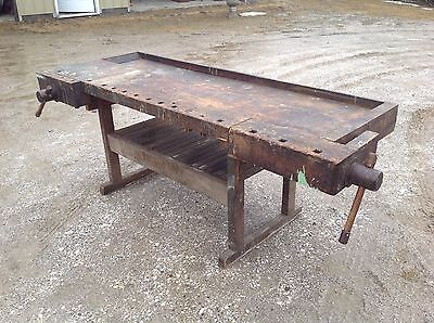 Nice Original As Found Workbench Two Vices Old Finish Island Counter