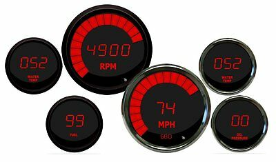 INTELLITRONIX DIGITAL GAUGE SET, Round Gauges with Chrome Bezels in RED