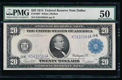 AC Fr 1007 1914 $20 Dallas FRN PMG 50