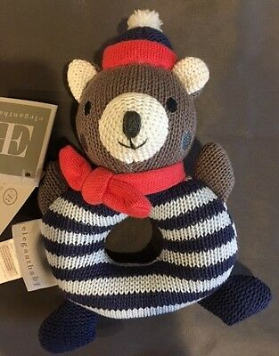 """Elegant Baby Bear Rattle/Teether - 7"""" - Striped Circle Body - Hat and Scarf"""
