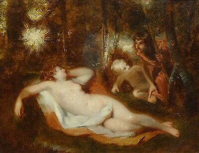 Fine 19th Century Classical Venus Sleeping Nude Forest Antique Oil Painting ETTY