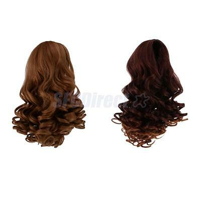 2pcs Wavy Curly Hair Wig for 18inch American Girl Doll DIY Making Accessory