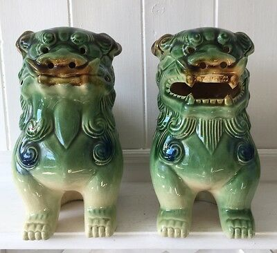 "A Pair Of Large Vintage Chinese Foo Dogs ( Approx 7.5"")"
