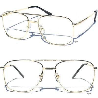Metal Frame Gold Color Aviator Clear Lens Eye Glasses Classic Retro Square Style