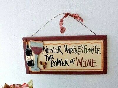 "WINE WALL DECOR ""Never Underestimate the Power of Wine"" CORK ACCENTS"