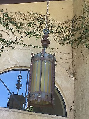 "Antique European Church Large Hanging Fixture Chandelier Electric 51""X 18"" Works"