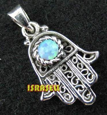 925 Silver & Blue Opal Hamsa Pendant - Protection Luck Charm Lucky Hand of God