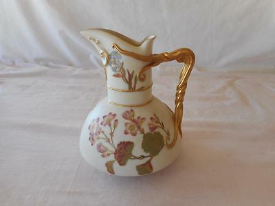 Royal Worcester Squat Floral Pitcher Twisted Gold Handle #1378 Circa 1889