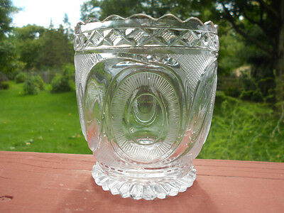 Old Antique Early Cut Glass Vase or Spooner w Ovals