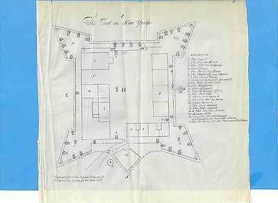 Early Map Of Fort New York & 23P. Text On Fort - Valentines History Of City Ny