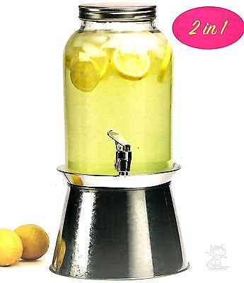 Beverage Dispenser 1 Gallon Glass with Metal Base 2 In 1