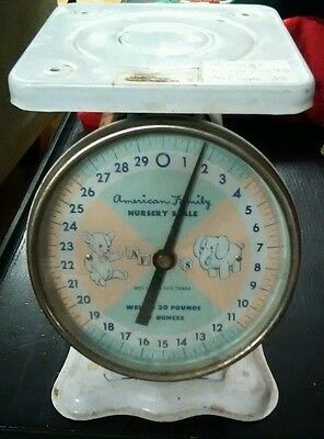 Vintage American Family Nursery Scale Weighs Up To 30 Pounds Free Shipping!