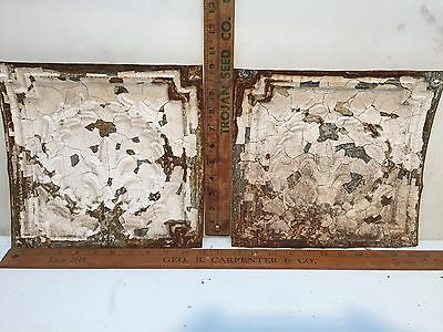 "2 - 10"" x 10"" Antique Ceiling Tin Tile Vintage Reclaimed Salvage Re Purpose Art"