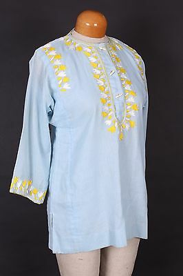 Vtg 70S Nelly Ethnic Mexican Embroidered Shirt Top Womens Size 10