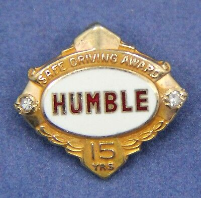 Vintage HUMBLE OIL 10K 15 year Safe Driving Award Pin 2 Diamonds