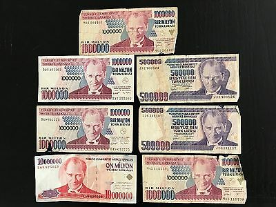 Lot Of Seven Turkey Turkish Lira Circulated Paper Money  Banknotes -1970