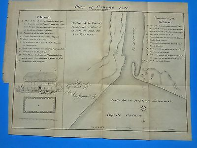 Antique Map Oswego, N. Y. 1727, French & English References 1849 Issued