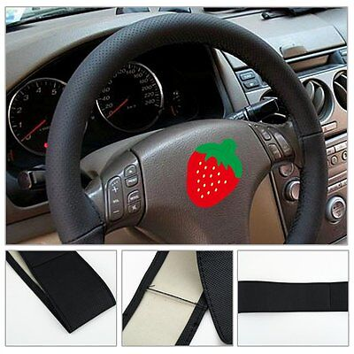 Universal DIY Car Steering Wheel Cover PU Leather With Needle and Thread Black H