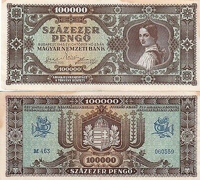 Hungary P120a, 100,000 Pengo  girl in native dress with ponytail in hair, 1945