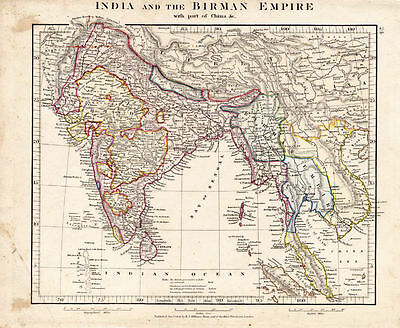 Map of India and the Birman Empire by Aaron Arrowsmith. Hand Colored. 1841.