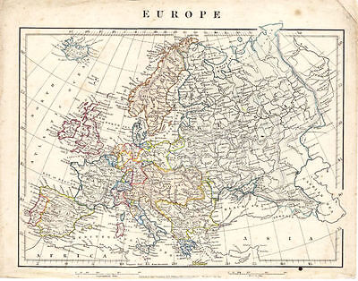 Antique Map of Europe by A. Arrowsmith. 1841.