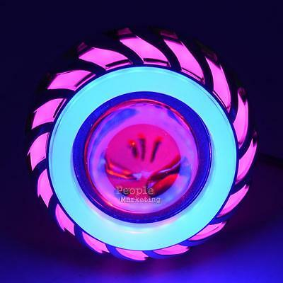 Angel Devil Eye Halo Beam Motorcycle LED Headlight Projector 12V-58V Pink Blue