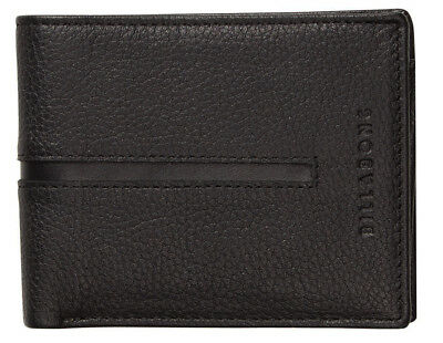 New In Gift Box Billabong Empire Mens Black Genuine Leather Tri-Fold Wallet