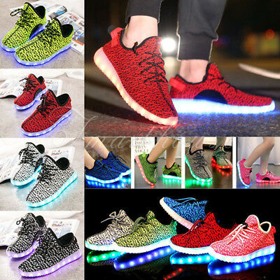 Adults & Kids LED Luminous Light up Shoes Casual Sportswear Sneakers USB Charger