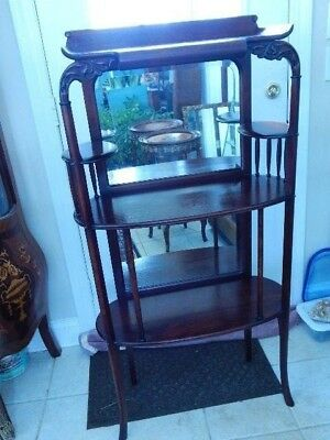 """Victorian Mahogany Dainty Etagere Stick and Ball Top Beveled Mirror 52"""" H"""