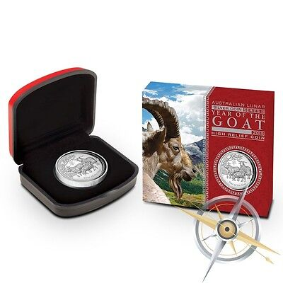 2015 Year of the Goat High Relief 1 Ounce Proof .999 Silver Coin with Box & COA