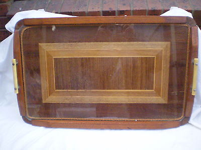 Art Deco Tray Inlaid Marquetry Protective Glass Bakelite Handles
