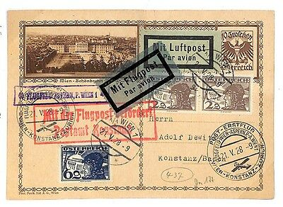 EE22 1928 Austria Germany Konstanz Baden Airmail {samwells-covers}PTS