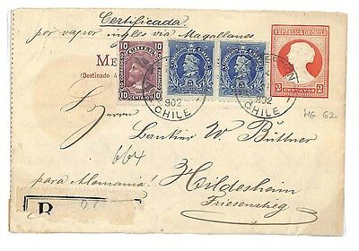 EE43 1902 Chile Transatlantic Uprated 2c Stationery Germany {samwells-covers}PTS