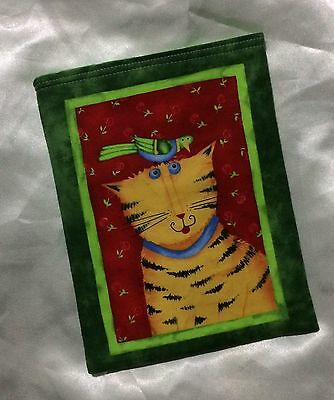 Paperback Book Pouch Cover Sleeve Holder - Ginger Cat with Bird