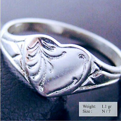 Ring Real 925 Solid Sterling Silver Ladies Ruby Engraved Signet Shield Design N