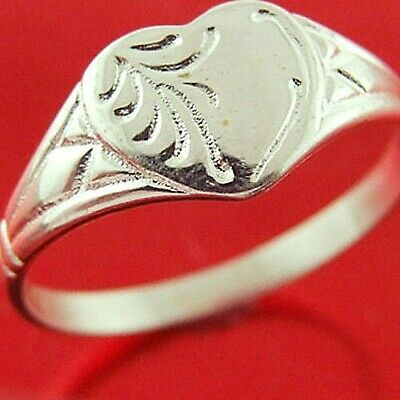 Ring Genuine Real 925 Solid Sterling Silver Engraved Heart Signet Design L  6